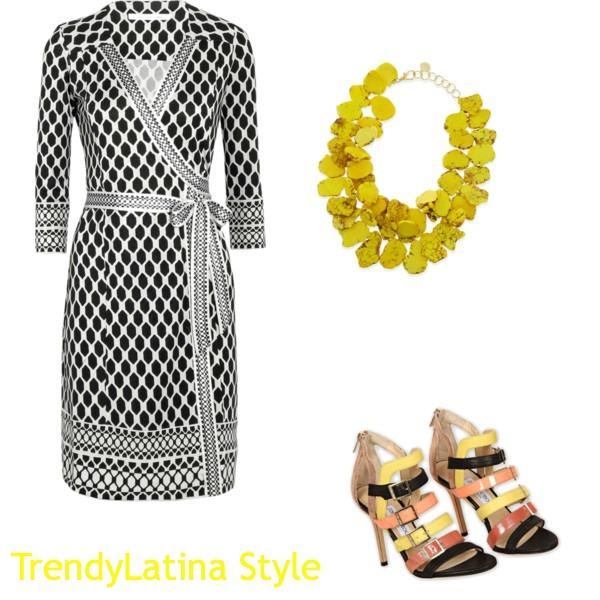 Wrap Trendy Dress Black & White