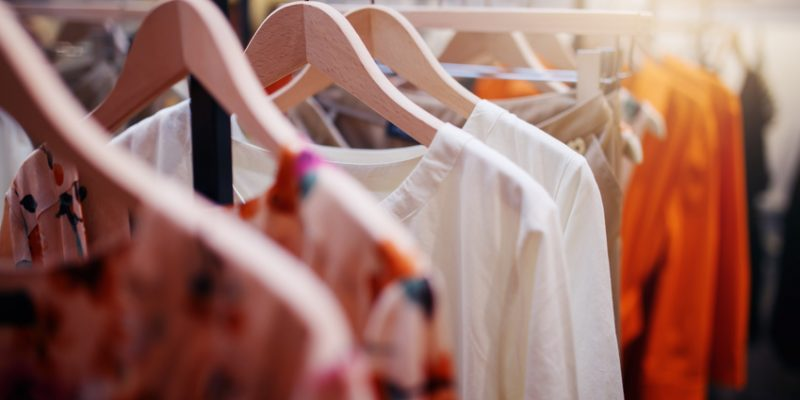Clothing organized in closet
