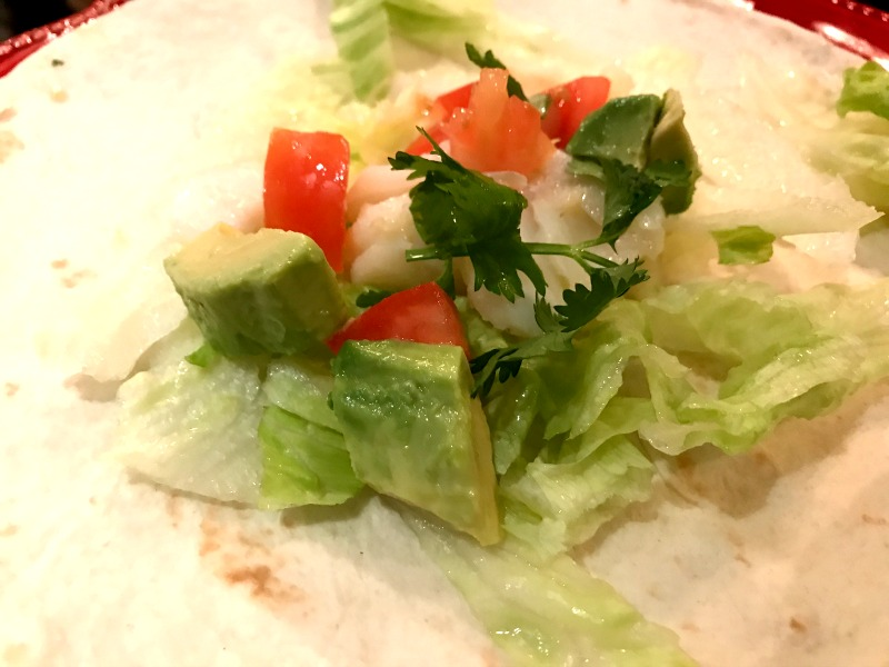 greens on tortilla