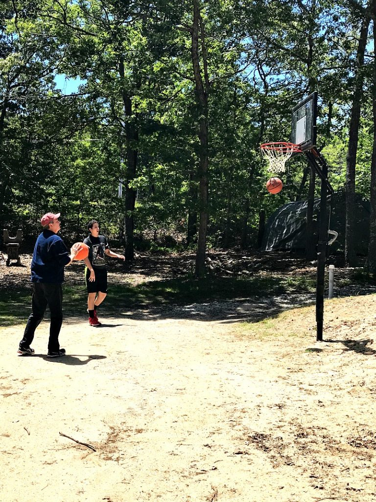 shooting hoops at campground