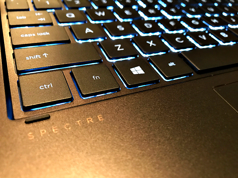 HP Spectre lighted keyboard