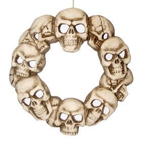 lighted skull wreath