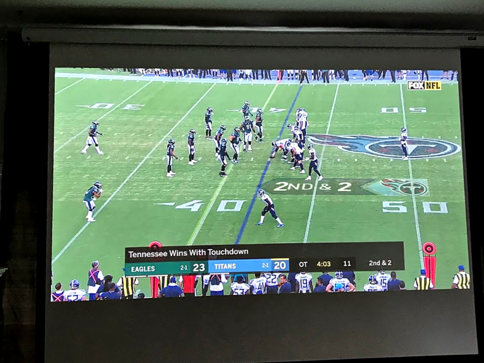 Football game on Epson 4010 projector