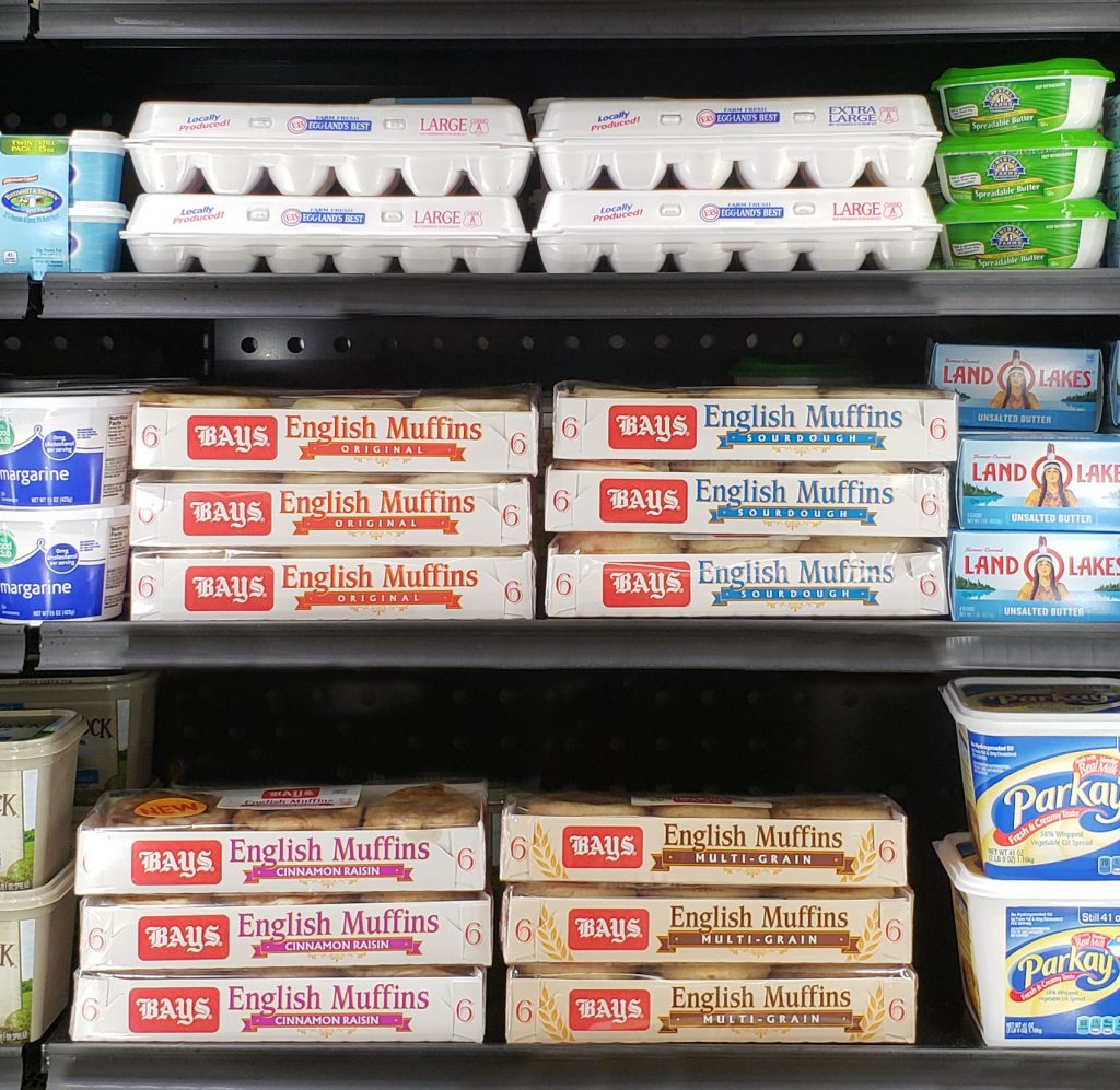Bays English Muffins in the dairy section