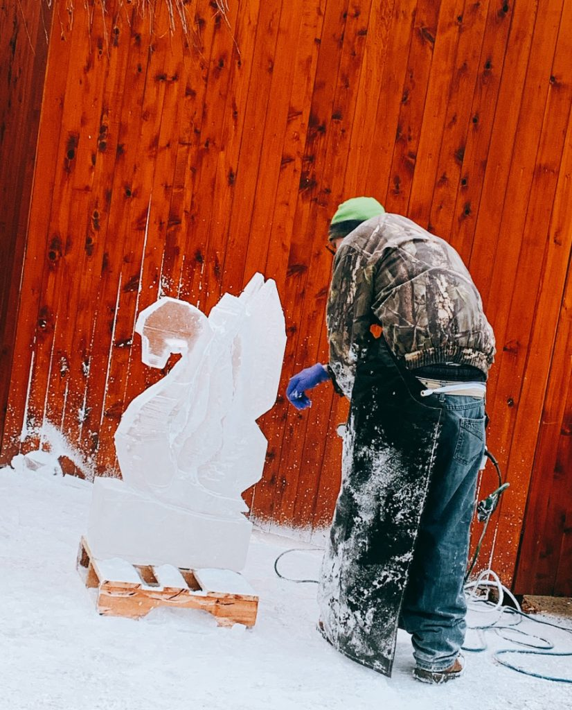 ice sculpting at Woodloch