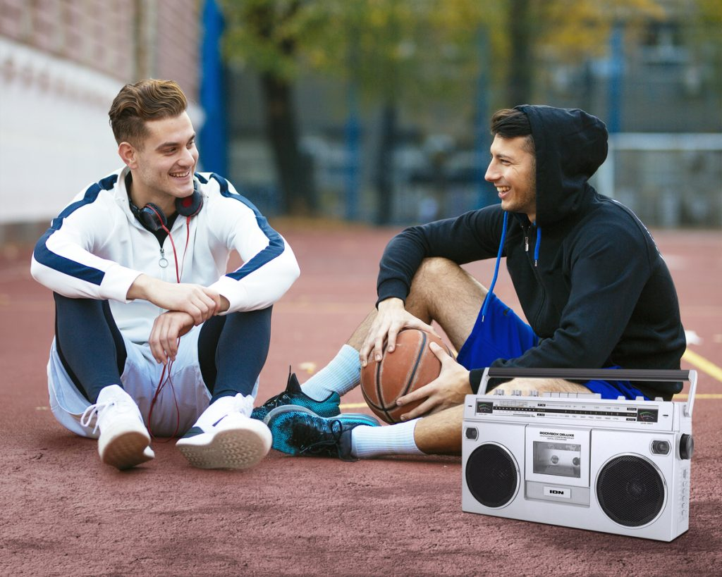 young guys with ion boom box