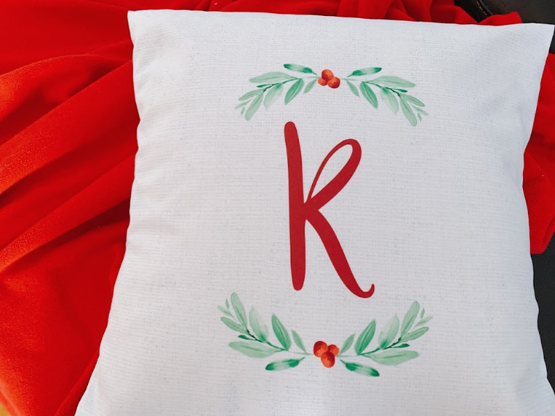 Our personalized Christmas throw pillow