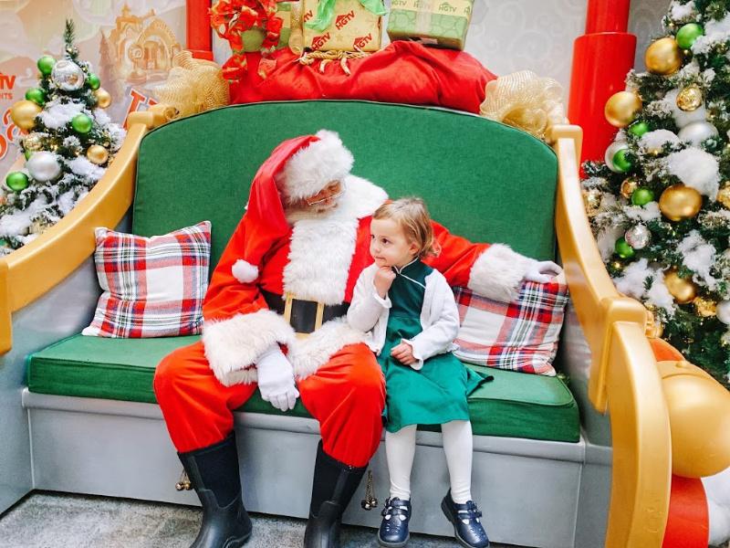Chatting with Santa at Santa HQ