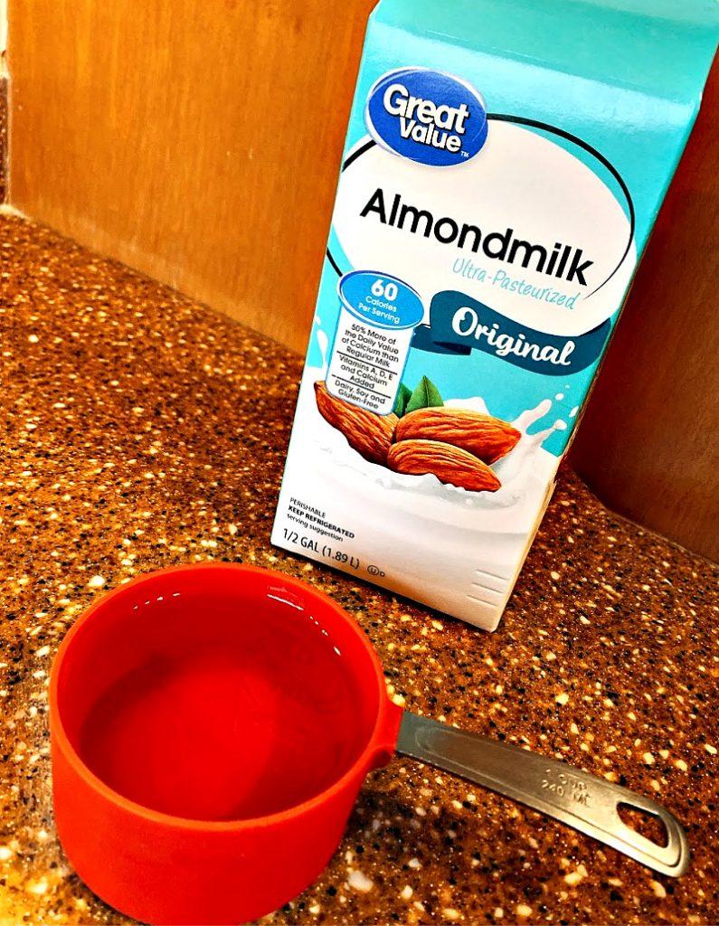 almond milk in a smoothie