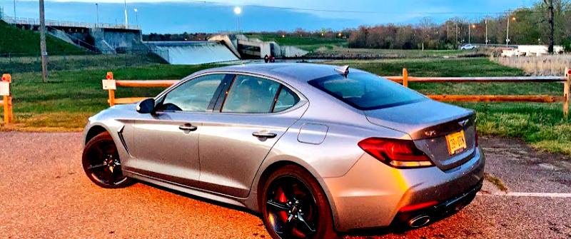 Genesis G7 AWD 3.3T Sport at susnset