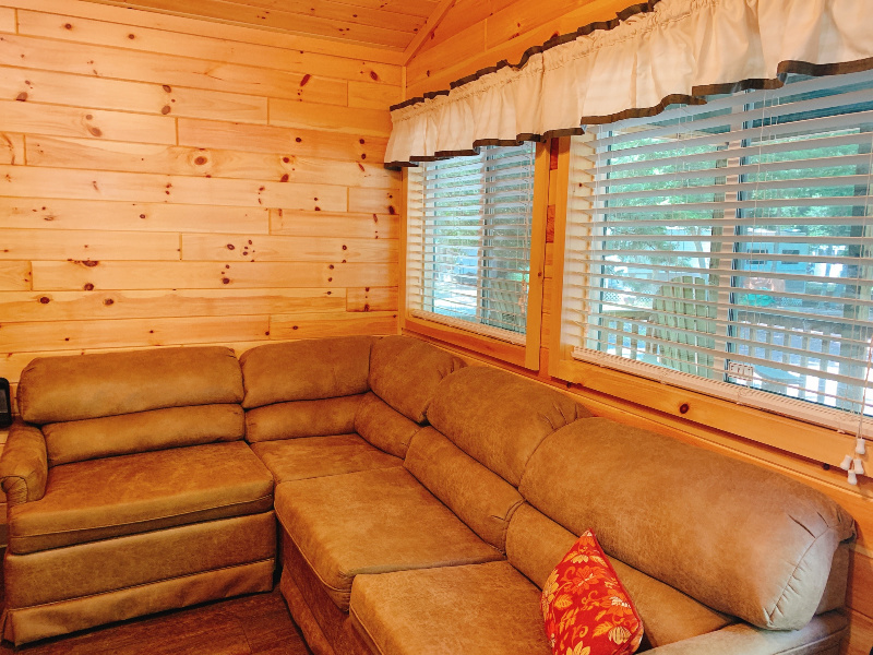 corner couch in the KOA cabin