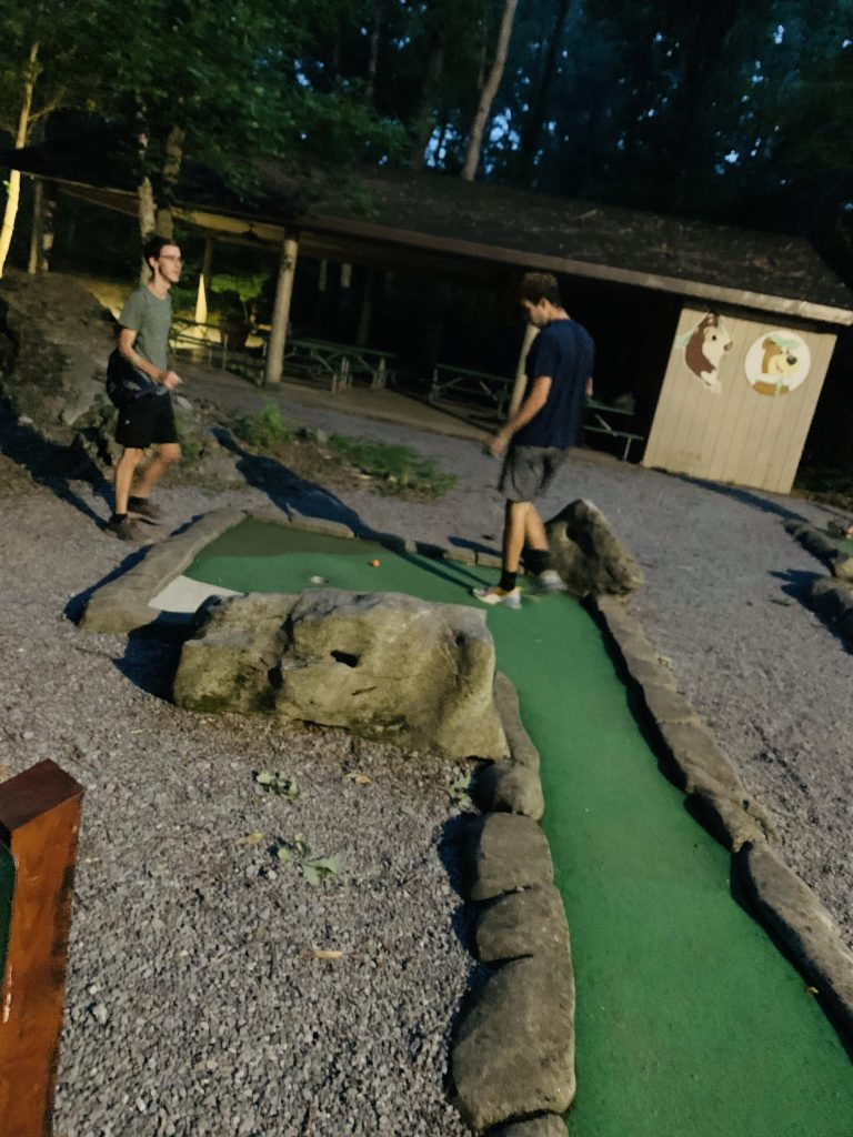 miniature golf at night in Jellystone campground