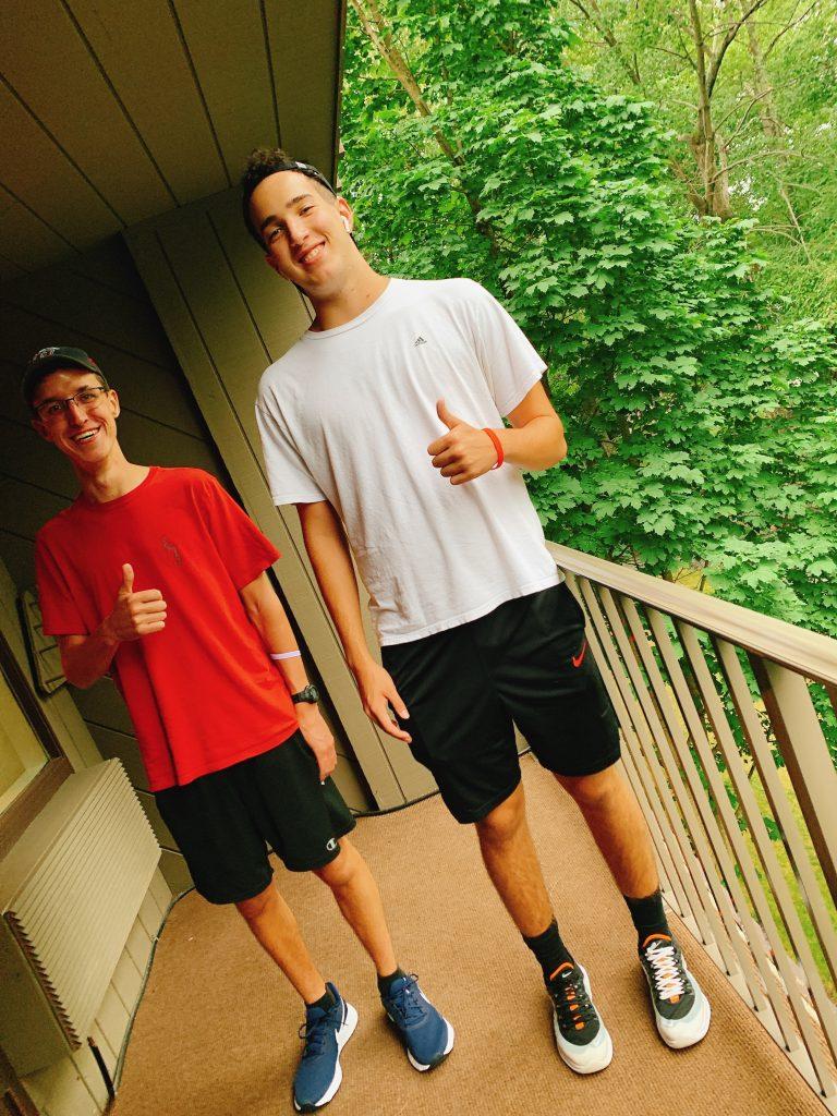 boys on Woodloch suite balcony