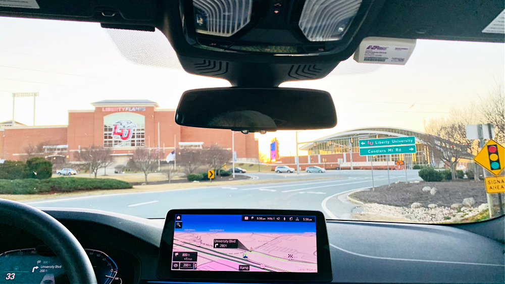 arriving at Liberty University in the BMW 530e