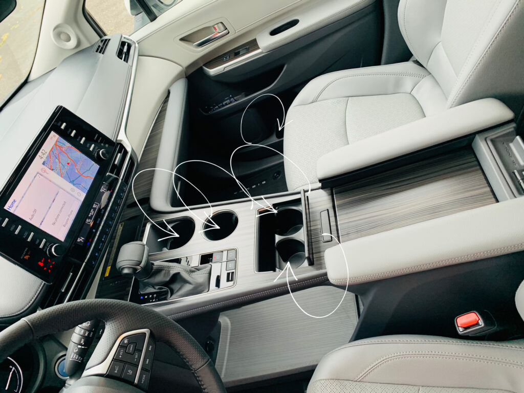 cupholders in Toyota Sienna Hybrid AWD