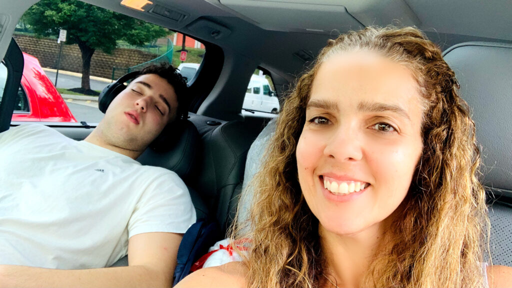 Mom and son driving to college