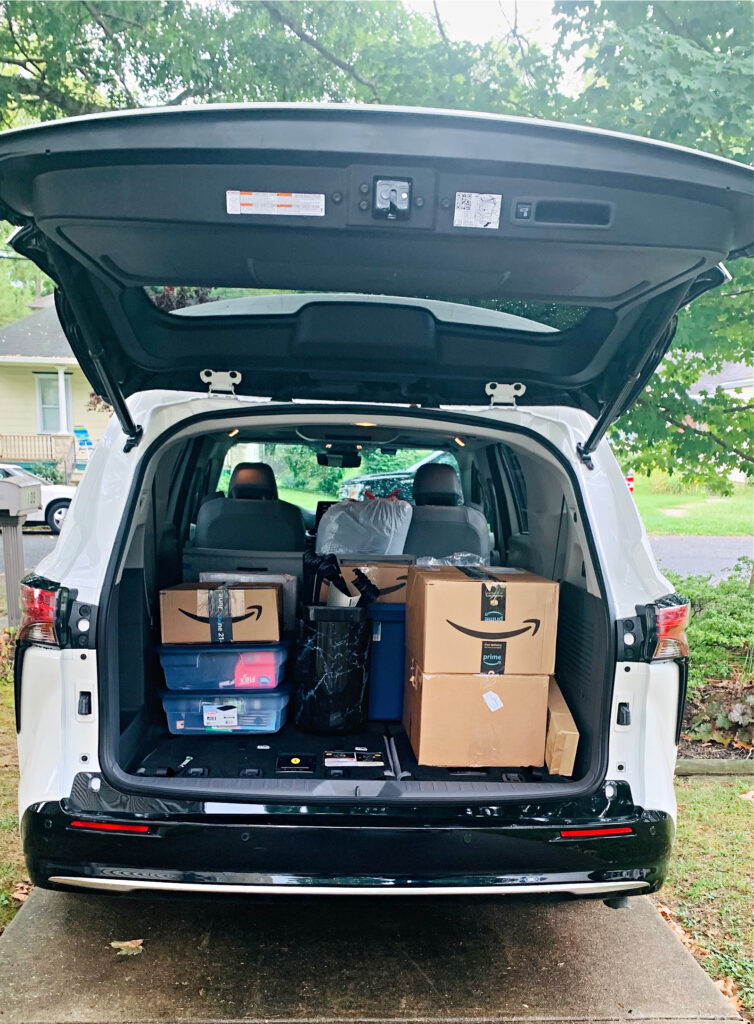 packing the Sienna for college move-in